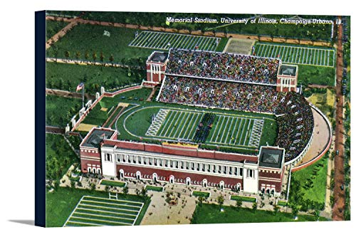 - Champaign-Urbana, Illinois - University of Illinois; Aerial View of Memorial Stadium (18x11 3/8 Gallery Wrapped Stretched Canvas)