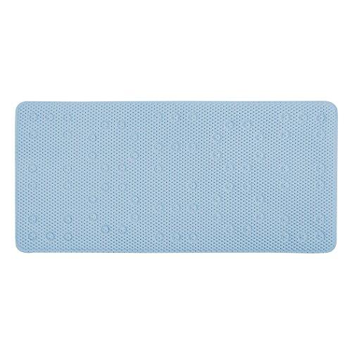 Richard Homewares Anti Slip Bath Tub Mat - Charming Waffle Design With Rectangle Shape - Soft Vinyl Bubble Comfort - Machine Washable – Blue – Universal Bathroom & Shower Rug - 16.9