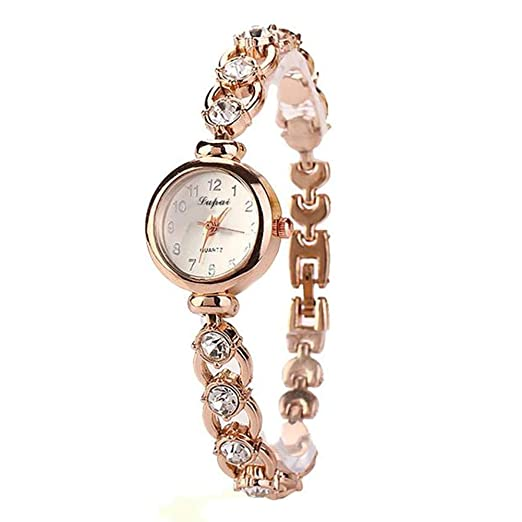 Amazon.com: Womens Watch,Luxury Round Diamond Bracelet Cutout Wristwatch Business Clock Axchongery (Gold): Clothing