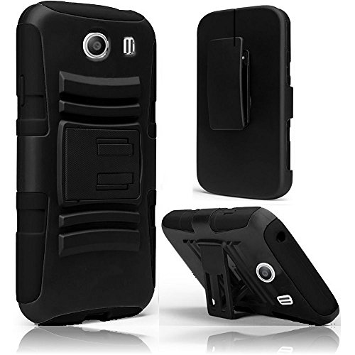Galaxy Ace Style Case, SOGA Hybrid Super Armor Cover Protector Case with Belt Clip Holster Kickstand for Samsung Galaxy Ace Style S765C - Black/Black [SWB257]