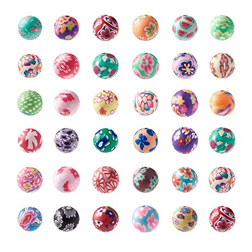 Craftdady 200Pcs 10mm Mixed Colors Handmade Polymer Clay Round Ball Beads DIY Jewelry Necklace Bracelet Earring Craft Making Colorful Spacer Beads