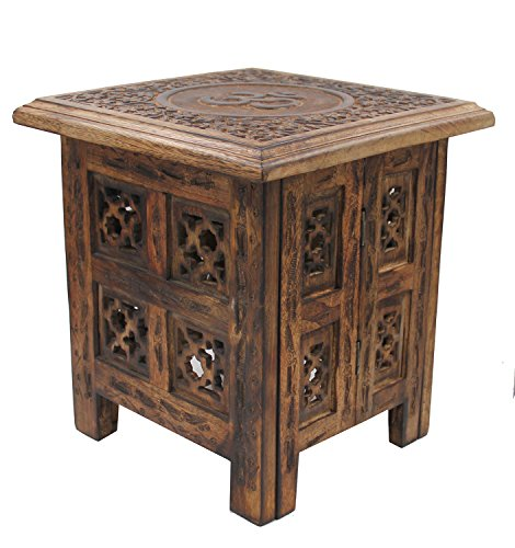 Mango Wood Hand Carved Prayer Puja Shrine Altar Meditation Table (OM) (Carved Altar Table)