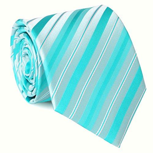 Tie Hanky Cufflinks Set Various Mens 18A83 Landisun Bright Striped Neckie Green Silk 8xq0aIF