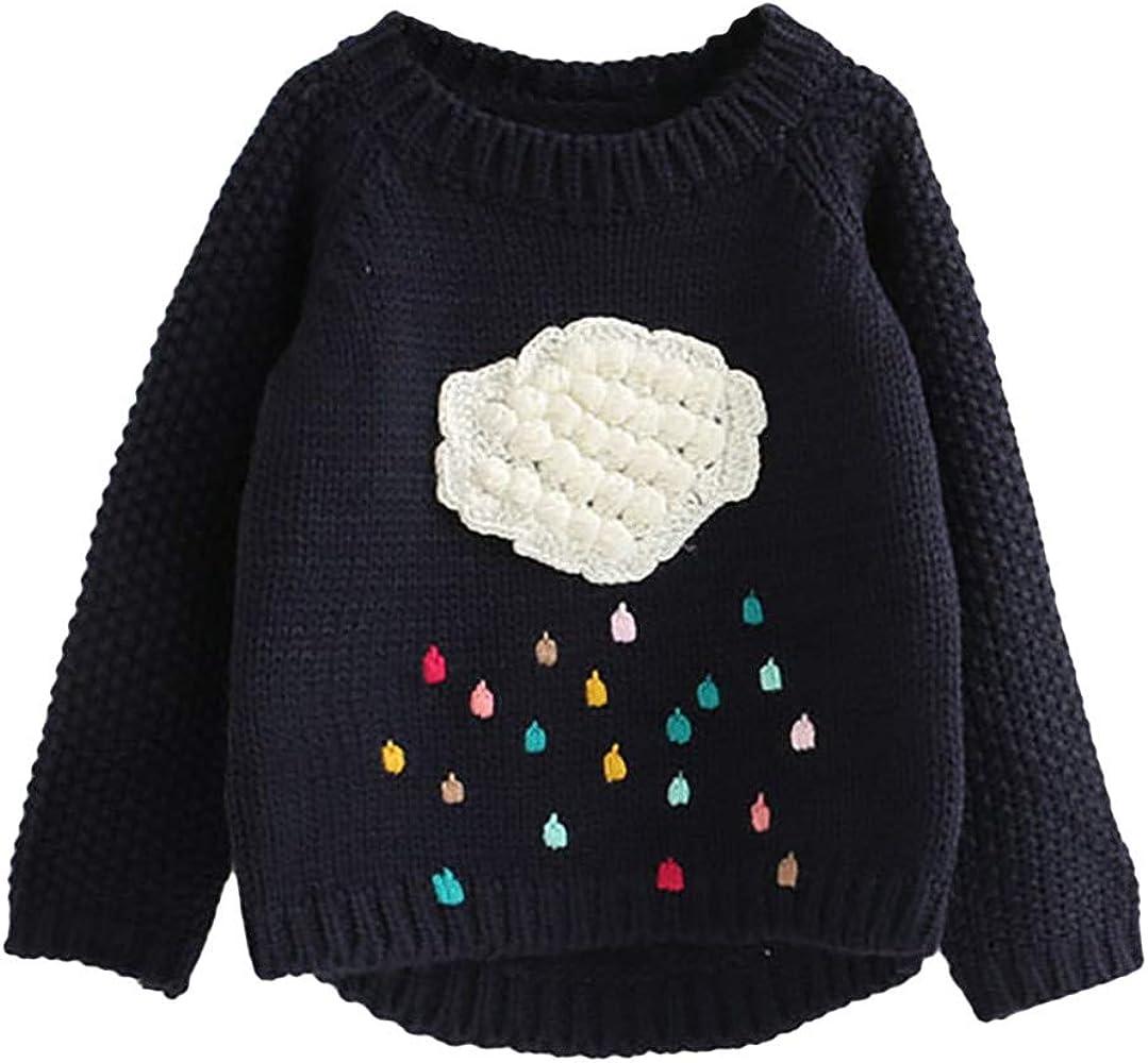 6638fe1fe7d48 ProperLI Pull à Manches Longues pour Filles Enfants Bébé Vêtements en Tricot  Haut de Broderie Goutte