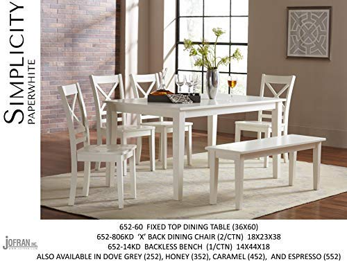 """Jofran 652-60 Simplicity Rectangle Dining Table Paperwhite, 36"""" W X 60"""" D X 30"""" H, Linen Finish, (Set of 1)"""