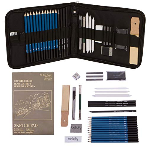 Bellofy Professional Drawing Kit Artist Drawing Supplies Kit | 33-Piece Sketch Kit, Erasers, Kit Bag, Free Sketchpad | Perfect Graphite Drawing Pencil Set for Sketching | Art Pencils for - Art Drawing Supplies