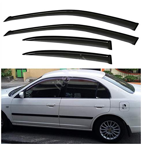 itelleti 4pcs Outside Mount Dark Smoke Sun//Rain Guard Front+Rear Tape-On Auto Window Visors For 00-06 Suburban//Yukon XL 02-06 Avalanche//Escalade ESV//EXT 01-06 Silverado//Sierra 07 Classic Body Crew Cab
