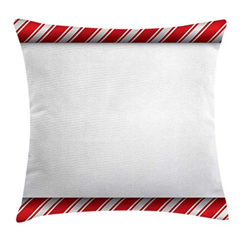 XGUPKL Candy Cane Throw Pillow Cushion Cover, Horizontal Borders Frame with Red and White Sweetie Pattern in Abstract Style, Decorative Square Accent Pillow Case, 18 X 18 inches, Red - Sweetie Satin Pie