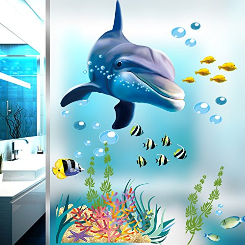 Ocean Wall Stickers for Under the Sea Theme Cute Fish Blue Dolphin Seagrass Coral Wall Mural Multicolored for Nursery Kids Room (Under the Sea) ()