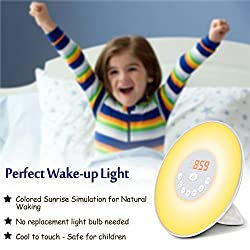 Ratighting Wake Up Alarm Clock for Kids with Nature Sounds for Baby Sleep Night Light Sunrise Simulation Mode