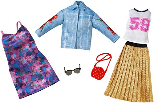 Barbie Fashion Trucker Jacket & Pleaded Skirt Fashion, 2 Pack
