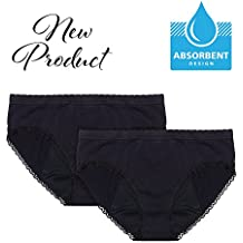 EvaWear 2 Pack Menstrual Period Or Light Incontinence Panty, Absorbent, Hypoallergenic, Various Styles