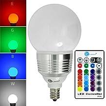 LONOVE RGB LED Color Changing Light Bulb Ir Remote Control bulbs dimmable bulbs 3W E12
