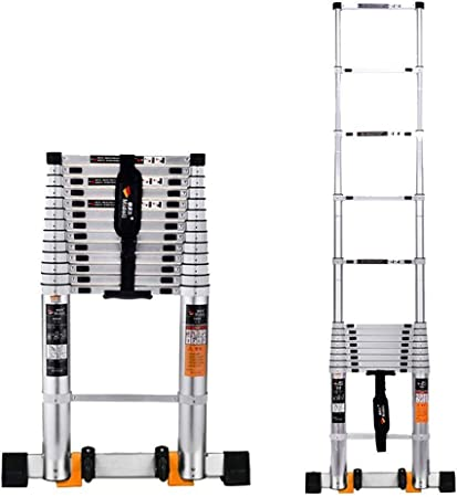 BBG Taburete de Escalera Telescópico, Taburete de Escalera Telescópico Estable Plegable de Aleación de Aluminio, Taburete de Escalera de 6 Tamaños,2.9M: Amazon.es: Bricolaje y herramientas