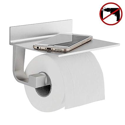 Hoomtaook Portarrollo para Papel Higiénico, Autoadhesivo, Aluminio, Acabado Mate