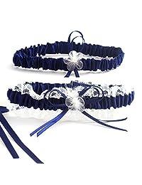 Elegant Navy Blue and Beige Lace Bride Garter Set