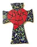 Mexican Tile Talavera Wall Cross Mosaic Red Heart and Multi colored tile 2
