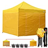 ABCCANOPY 23+colors Commercial 10x10 Ez Pop up Canopy, Party Tent, Fair Gazebo with 6 Zipped End Sidewalls and Roller Bag Bonus 4x Weight Bag (Yellow)
