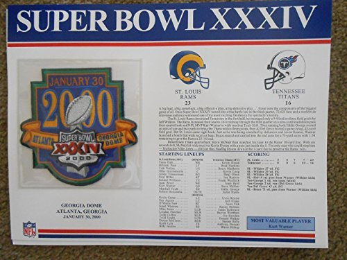 SUPER BOWL 34 RAMS TITANS Willabee & Ward OFFICIAL SB XXXIV NFL PATCH CARD ()