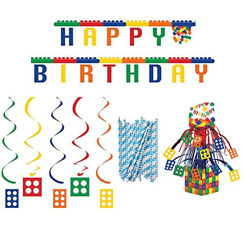 Building Block Party Decorations Pack | Straws, Block Party Centerpiece, Block Party Dizzy Danglers, and Block Party Jointed Banner | Great Party Decoration Supplies For Your Little Builder's Party!