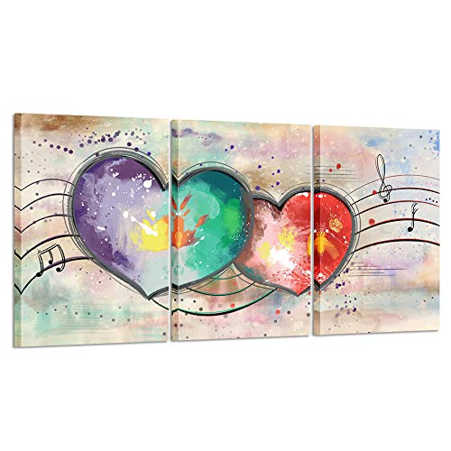 - Kreative Arts 3 Pieces Canvas Wall Art Love Heart Painting with Frame Modern Pink Artwork Abstract Home Decor Giclee Prints Gallery Wrapped Art Work for Couple Bedroom Walls Decorations 16x24inchx3pcs