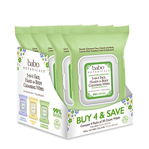 Babo Botanicals 3-in-1 Hydrating Face, Hand & Body Wipes, Cucumber & Aloe Vera, 30 Count (4 Packs)