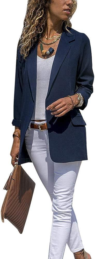 Donna Colore Solido Manica Lunga Blazer Cardigan Giacca Tempo Libero