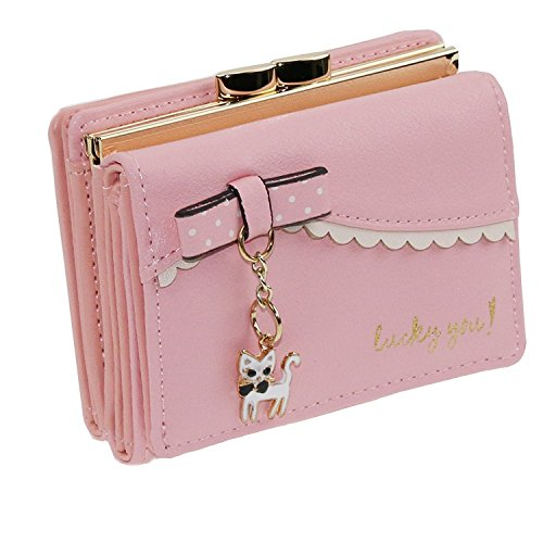 FXTXYMX Womens Faux Leather Cute Cat Bowknot Small Wallet Coin Card Holder (Pink)