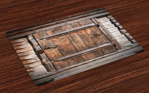 Ambesonne Vintage Place Mats Set of 4, Rustic Wooden Door of Old Barn in Farmhouse Countryside Village Aged Rural Life Image, Washable Fabric Placemats for Dining Room Kitchen Table Decor, Brown