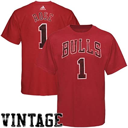 fcb95ebed Chicago Bulls Derrick Rose Vintage Name   Number Red NBA Basketball T-Shirt  (XX