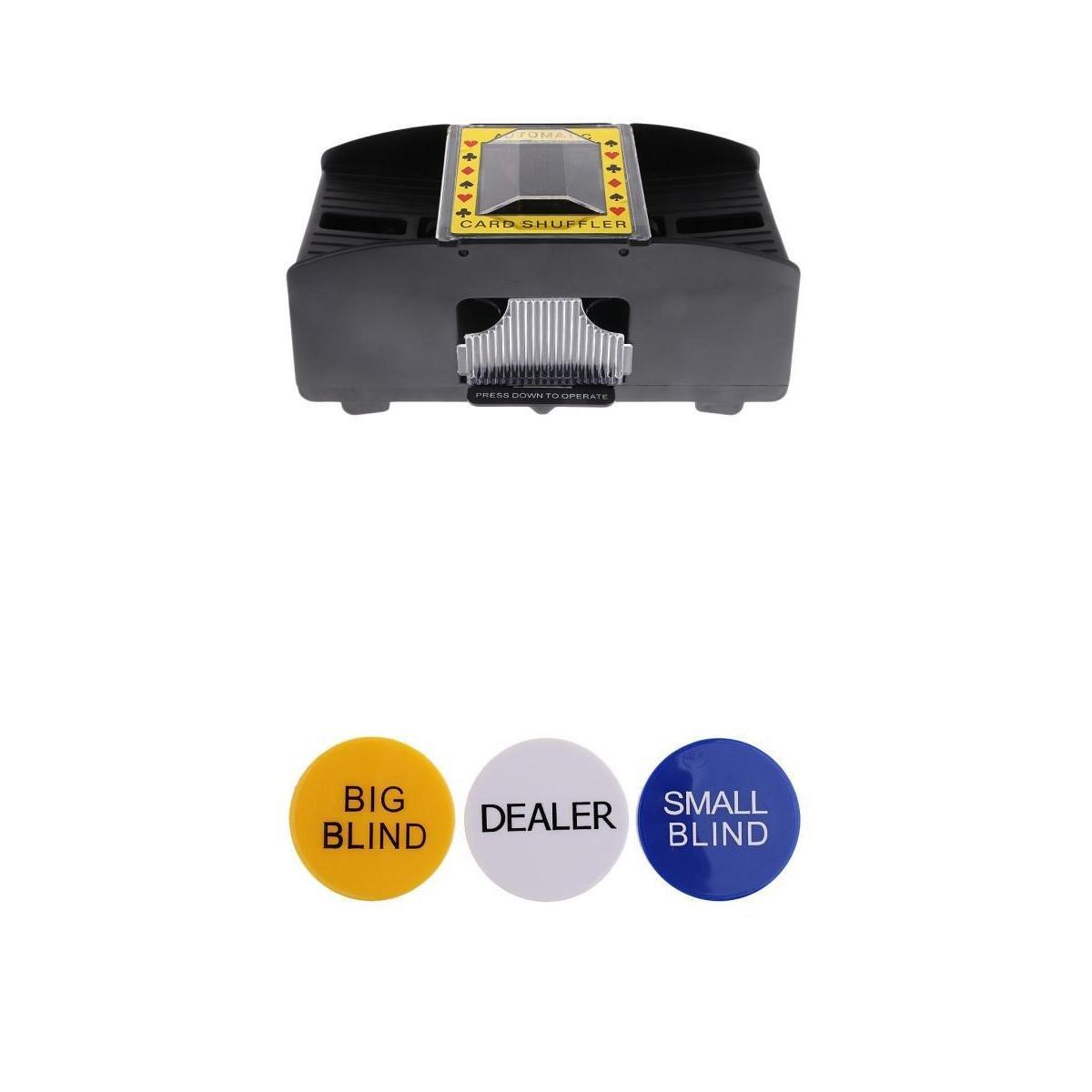 Homyl Elektrische Kartenmischmaschine Kartenmischer Spielkartenmischmaschine mit Poker Button Set, Dealer/ Big Blind / Small Blind