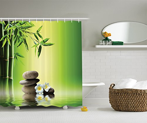 Ambesonne Bamboos Spa Decor Collection, Japanese Therapy and Relaxation Stones Frangipani Flowers Design, Polyester Fabric Bathroom Shower Curtain Set with Hooks, 84 Inches Extra Long, Green Yellow - Lotus Garden Rug