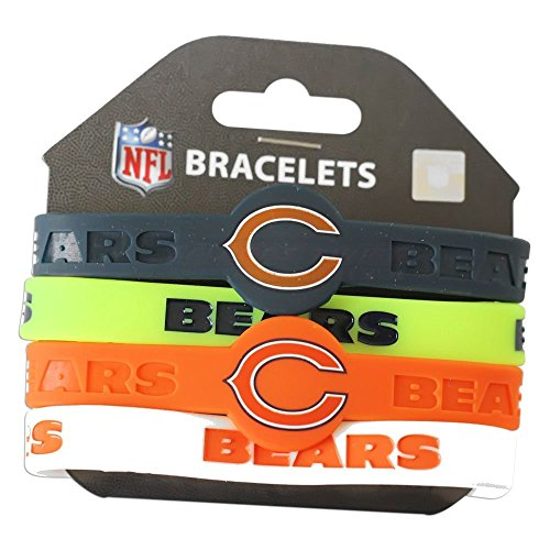 Chicago Bears Rubber Bracelet - aminco NFL Chicago Bears Silicone Bracelets, 4-Pack