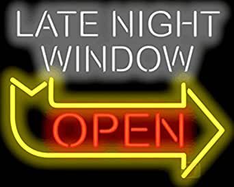 late night window open neon sign. Black Bedroom Furniture Sets. Home Design Ideas