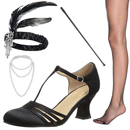 (1920s Shoes for Women, Lucille Dress Salsa Dance Pump,Flapper Headband,Cigarette Holder for Great Gatsby Costume Accessories,12M)
