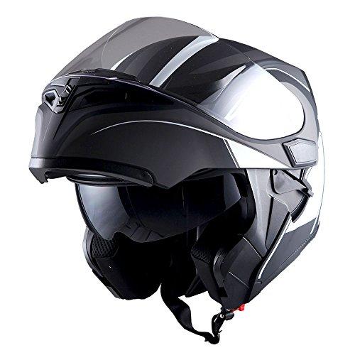 1Storm Motorcycle Modular Full Face Helmet Flip up Dual Visor Sun Shield: HB89 Arrow White by 1Storm