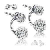 FINE&FOOK S925 Sterling Silver Shamballa Double Hoop Ball Stud Earrings with 2 pairs of Earrings Backs