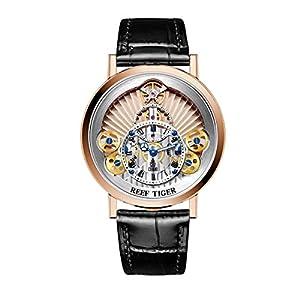 Reef Tiger Designer Fashion Watches for Men Quartz Skeleton Rose Gold Watches RGA1958