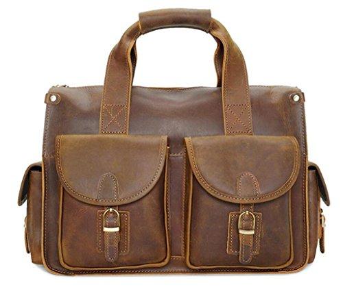 SHOUTIBAO Borsa in pelle vintage/borsa uomo/borsa a tracolla moda, borsa messenger, shopping/lavoro/viaggio, 3 1