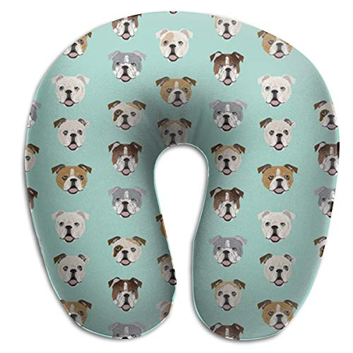 LinBei Stupid English Bulldog Memory Foam Travel Neck Pillow Portable Cervical U Pillow Camping