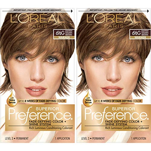 L'Oréal Paris Superior Preference Fade-Defying + Shine Permanent Hair Color, 6.5G Lightest Golden Brown, 2 COUNT Hair Dye