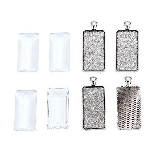 Pandahall 5Sets Antique Silver Cadmium Free & Lead Free Rectangle Pendant Tray Settings Bezel Blank Covers Charms with Clear Glass Cabochons Tray: ()