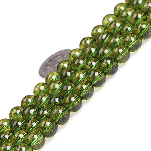 8mm Round Gemstone Green Peridot Beads Strand 15 Inches Jewelry Making Beads