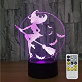 Witch Lamp with Remote Controller LED Touch 7 Colors Changing Table Desk Lamp Optical Illusion Light USB Charger Night Light for Halloween Witch Kids Lamp Halloween Led Lights