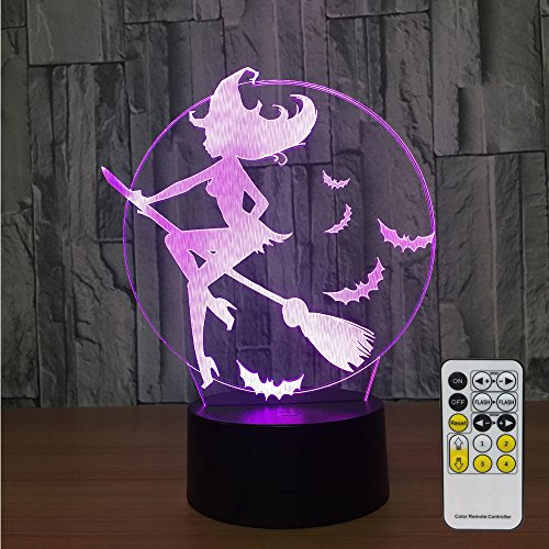 Witch Lamp with Remote Controller LED Touch 7 Colors Changing Table Desk Lamp Optical Illusion Light Halloween Decorations Night Light for Halloween Witch Kids Lamp Halloween Led Lights