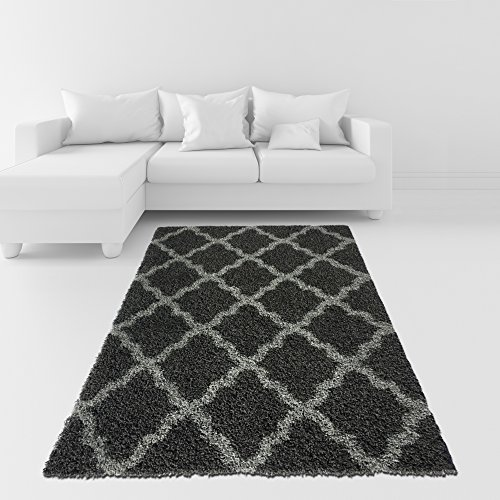 Soft Shag Area Rug 5x7 Moroccan Trellis Charcoal Grey Shaggy Rug - Contemporary Area Rugs for Living Room Bedroom Kitchen Decorative Modern Shaggy Rugs - Charcoal 8x10 Area