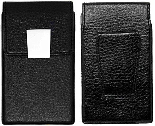 - Genuine Leather Vintage Shield Full Pack Cigarette Case With Belt Clip
