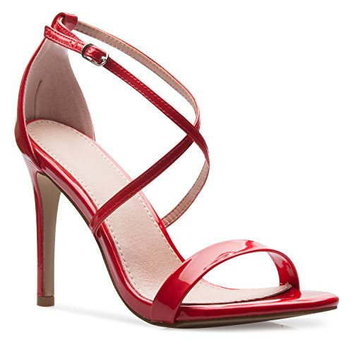 OLIVIA K Women's Elegant Cross Strap High Heel Sandals - Wedding, Dress, Comfort, Sexy,Red Patent,8.5 B(M) US (Patent Sexy Sandals)