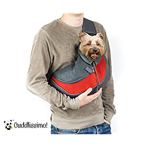 Cuddlissimo! Pet Sling Carrier - Small Dog Cat Sling Pet Carrier Bag Safe Reversible Comfortable Machine Washable Adjustable Pouch Single Shoulder Carry Tote Handbag for Pets Below 6lb (Red)