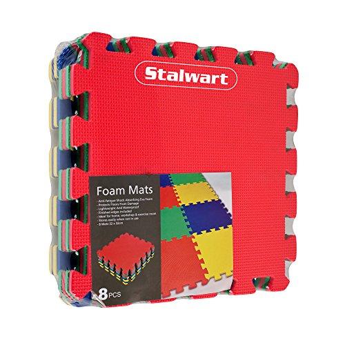 Stalwart 8 Piece Multi Color Interlocking Eva Foam Mat 24 5 X 48in Fitness Flooring Roman